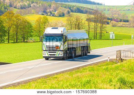 CZECH REPUBLIC, KLATOVY, 6 MAY,2016:Tanker truck on the road