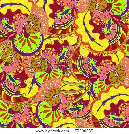 Vector abstract boho colored pattern with floral ornament. Hand drawn repeating element.  Cinco de mayo