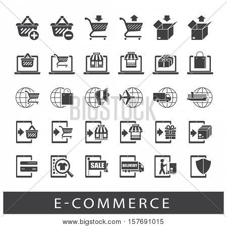 Collection of icons for online shopping. Premium quality icon set for e-commerce.