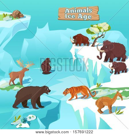 Animals ice age composition with tiger bear beaver mammoth and deer on frozen nature background vector illustration