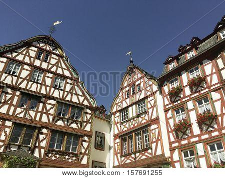 GERMANY - BERNKASTEL - 23 AUGUST 2016: Half-timbered houses in Bernkastel.