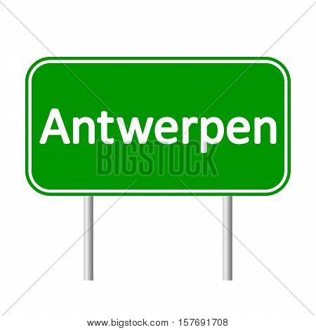 Antwerpen road sign isolated on white background.