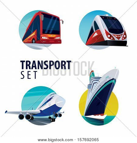 Set of isolated on white background vector round emblems in the same style with different types of transport bus train plane ship.