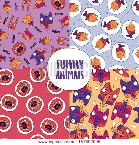 Set Of Seamless Patterns With Cute Animals