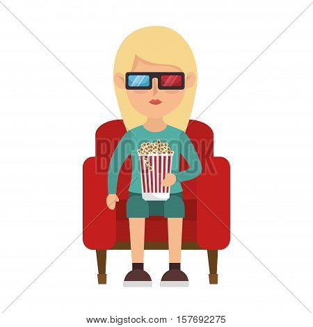 person with 3d galsses character vector illustration design
