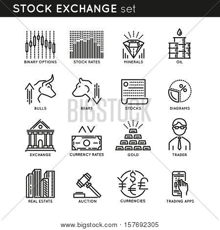 Stock exchange monochrome linear icons with oil gold and minerals trader auction and currencies isolated vector illustration