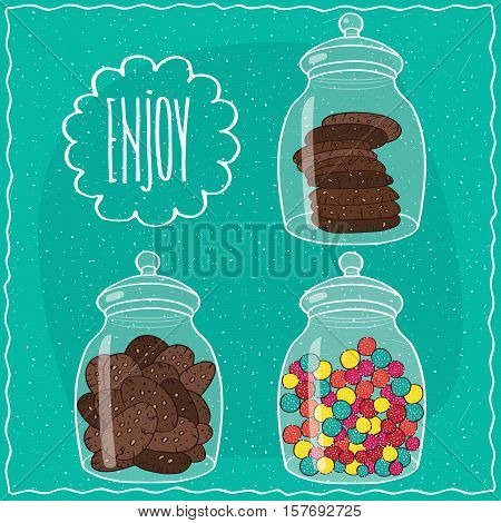 Set Of Transparent Glass Jars With Sweets