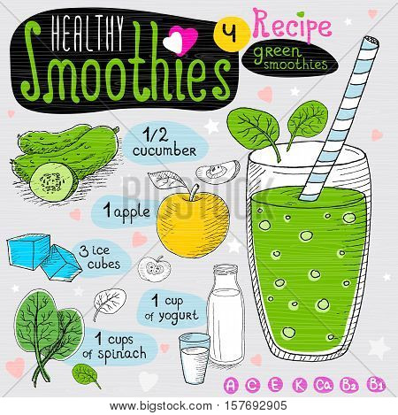 Healthy smoothie recipe set. With illustration of ingredients, glass, stars, hearts and vitamin. Hand drawn in sketch style. Green smoothie. Cucumber, apple, spinach, yogurt.