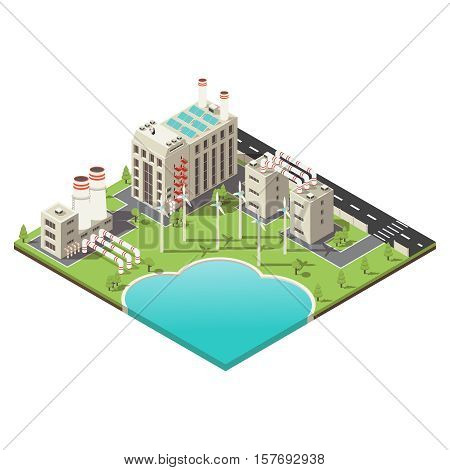 Colored 3 d factory territory isometric with windmills set and water body vector illustration