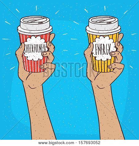Set Of Two Hands Holding Paper Cup Of Coffee