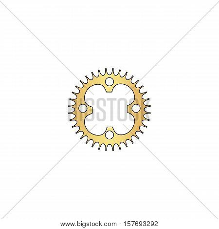Sprockets Gold vector icon with black contour line. Flat computer symbol