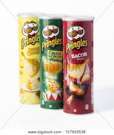 Chisinau Moldova - November 10 2016: Owned by the Kellogg Company Pringles is a brand of potato snack chips sold in 140 countries with yearly sales of more than US 1.4 billion dollars.
