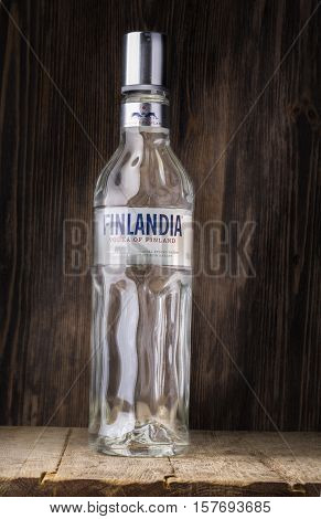 Chisinau Moldova November 16 2016: bottle on wooden background distributed in 135 countries Finlandia is a brand of Finnish vodka owned by the Brown-Forman Corporation.