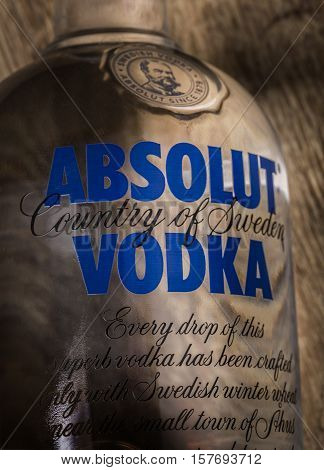 Chisinau Moldova November 16 2016:Absolut Vodka is a brand of vodka produced near Ahus in Sweden. Owned by French group Pernod Ricard it is one of the largest brand of alcoholic spirits in the world.