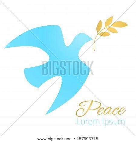 Dove silhouette. Blue dove, golden olive branch. White background. Symbol of peace. Logo template. Vector illustration.