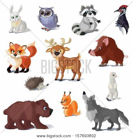 Cartoon forest animals set with deer fox and bear wolf hare and woodpecker isolated vector illustration