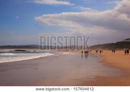 SANTANDER SPAIN - AUGUST 20: View of El Puntal beach in Somo on August 20 2016