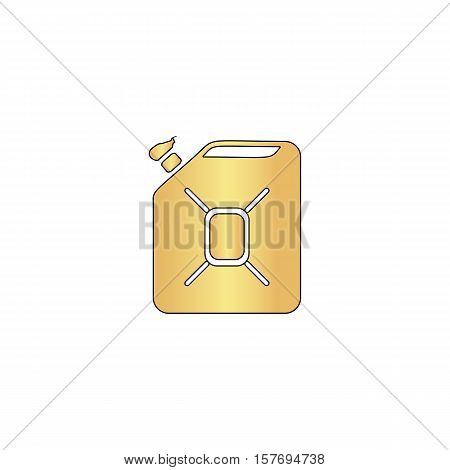 Jerrycan oil Gold vector icon with black contour line. Flat computer symbol
