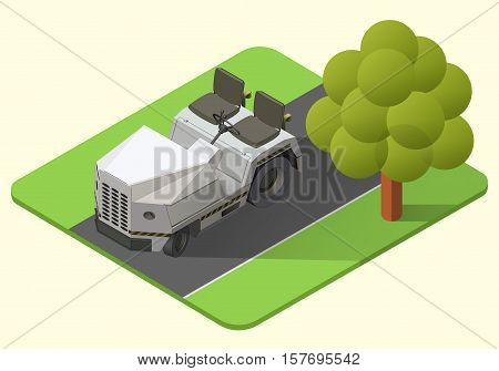 airport baggage truck vector isometric illustration. tugger axonometric