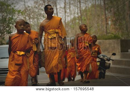 Tailand, Chiang Mai april 20, 2016. Three thai monks in actions