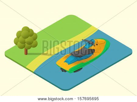 jet ski vector isometric illustration. waverunner axonometric