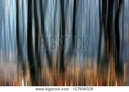 Abstract Motion Blur Of Trees In A Forest
