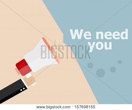 Flat Design Business Concept. We Need You. Digital Marketing Business Man Holding Megaphone For Webs