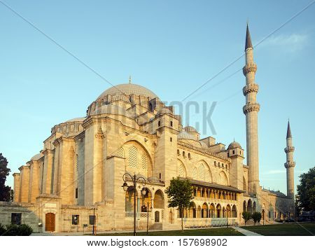 Suleymaniye Mosque at dawn. The Suleymaniye Mosque is an Ottoman imperial mosque located on the Third Hill of Istanbul Turkey. It is the largest mosque in the city and one of the best known sights of Istanbul. Suleymaniye Mosque in Istanbul in the distric