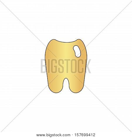 Tooth Gold vector icon with black contour line. Flat computer symbol