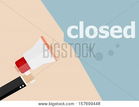 Closed. Hand Holding A Megaphone. Flat Style