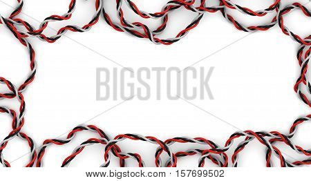 Stranded wire as a frame. Twisted together red black and white wires as a frame. Isolated. 3D Illustration