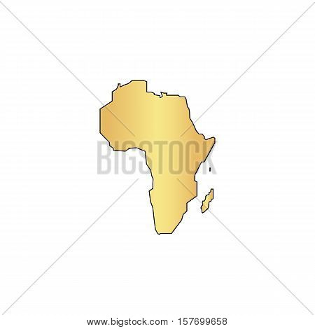 Africa Gold vector icon with black contour line. Flat computer symbol