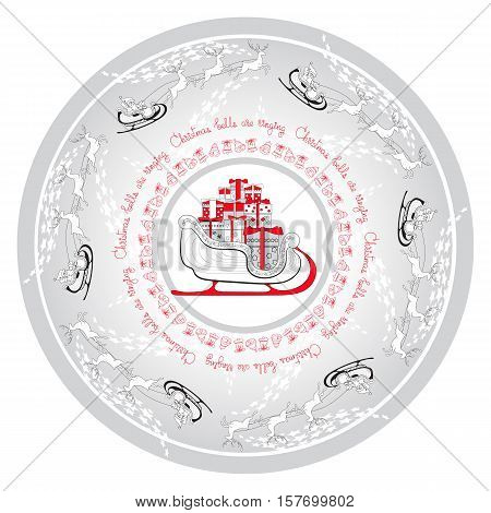 Vector Christmas card of sled, gifts and Santa Claus rides in a sleigh in harness on the reindeer. Hand drawn ornamental mandala with handwritten words. Round pattern.