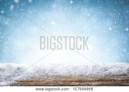 snow background light floor cold empty blue wooden space white table xmas top plank season wood card january frost falling concept - stock image