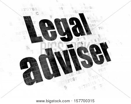 Law concept: Pixelated black text Legal Adviser on Digital background