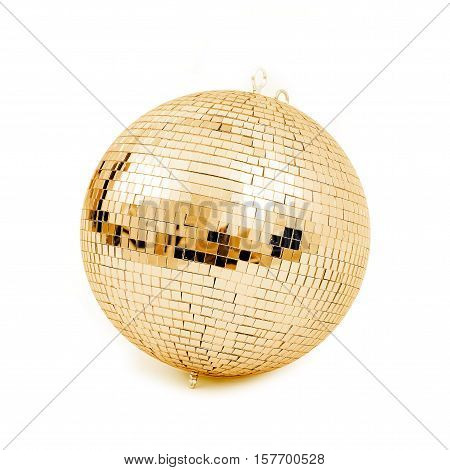 ball disco gold mirror discoball golden glitter white concept - stock image