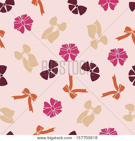 Stock vector pink seamless pattern with bows