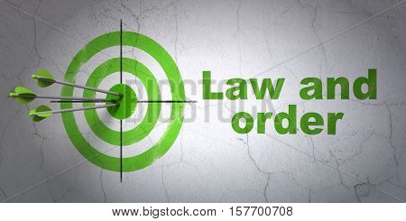 Success law concept: arrows hitting the center of target, Green Law And Order on wall background, 3D rendering