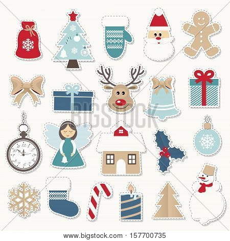 Christmas and new year festive stickers set. Gold and blue colors. Vintage. Santa Claus angel deer house snowman pocket watch mitten bow.