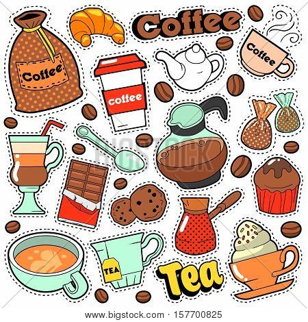 Coffee and Tea Badges, Patches, Stickers for Prints and Fashion Textile with Coffee Beans. Vector Doodle in Comic Style