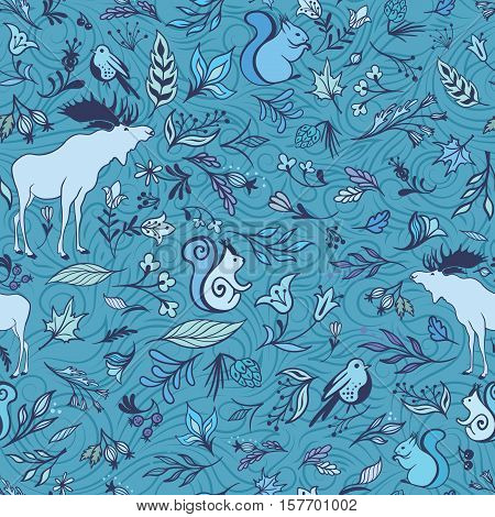 Seamless eco Christmas texture with leaves and animals for wrapping, wallpaper, textile design