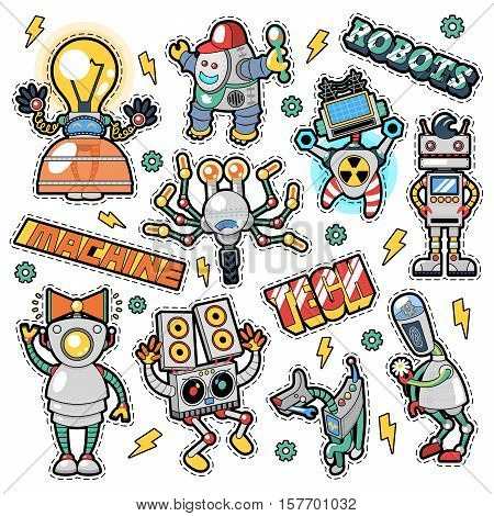 Robots and Machines Stickers, Badges, Patches set in Retro Comic Style for Prints and Textile. Vector doodle