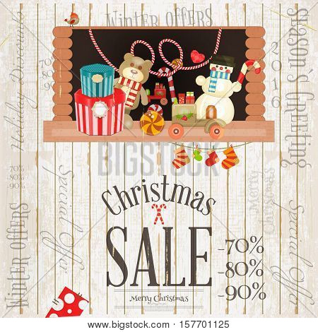 Christmas Sale Poster. Storefront with Toys and Gift Boxes on White Wooden Background. Retro Design. Vector Illustration.
