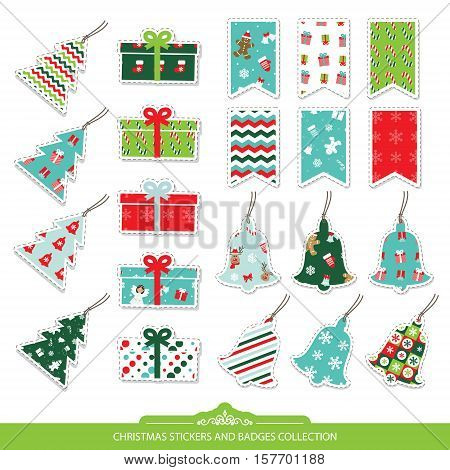 Christmas stickers and labels set isolated on white. Different festive patterns are full under clipping mack. Bunting flags present boxes bells christmas trees.