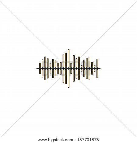 soundwave Gold vector icon with black contour line. Flat computer symbol