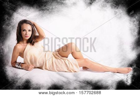 elegance, jewelry, necklace, hair, seductive, blonde, leather, seduce, charming, sensual, long, make, black, care, shirt, white, ethnic, studio, gold, sexy, flirty, clean, beauty, temptation, pleasure, feet, nails, woman, attractive, breast, effect, glamo