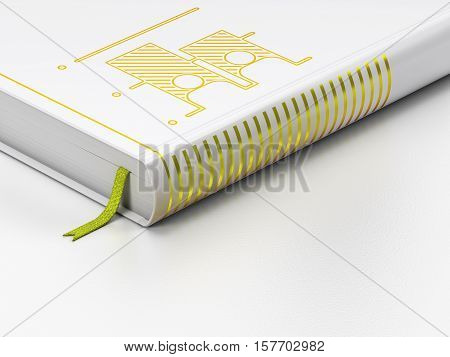 Political concept: closed book with Gold Election icon on floor, white background, 3D rendering