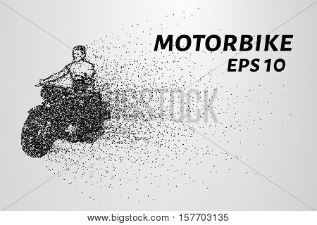 Motorcycle of the particles. Motorbike consists of small circles. Vector illustration.