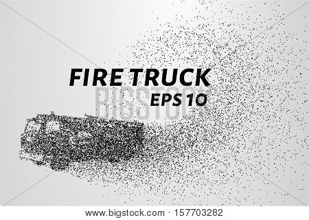 A fire truck from the particles. Fire truck consists of dots and circles. Vector illustration.