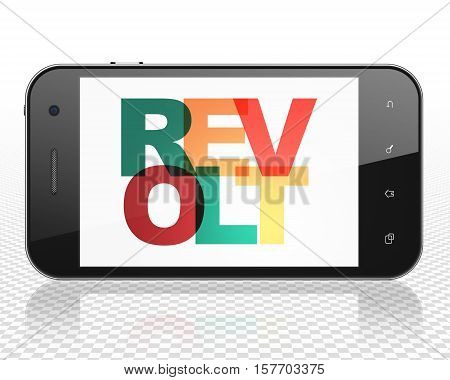 Politics concept: Smartphone with Painted multicolor text Revolt on display, 3D rendering